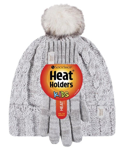 Kids HEAT HOLDERS Turn Over Pom Pom Hat & Gloves