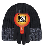 Boys Black Cable Turn Over  Hat with Gloves Age 11 + Years