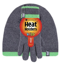 Load image into Gallery viewer, Boys Charcoal / Green Flat Knit Hat and Gloves Age 7-10 Years