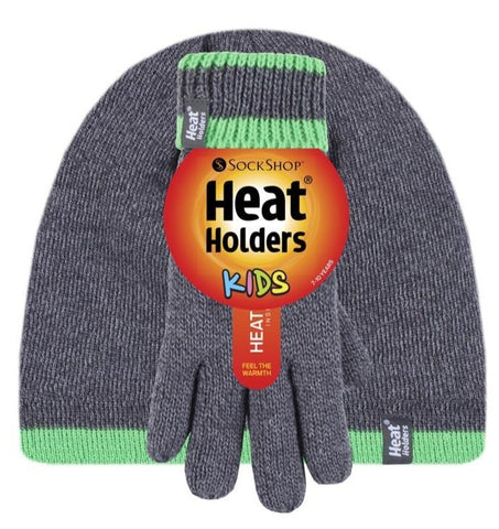 Boys Charcoal / Green Flat Knit Hat and Gloves Age 7-10 Years