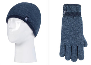 Boys Denim / Navy Flat Knit Hat and Gloves Age 7-10 Years