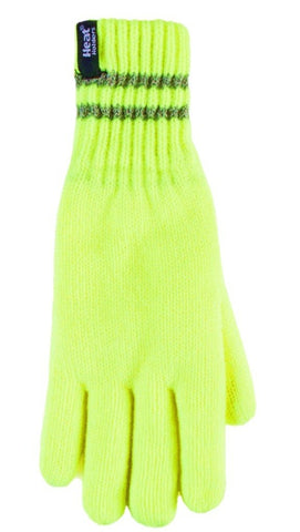 Heat Holders  Workforce Gloves - With Reflective Stripes - 2 Sizes, Yellow
