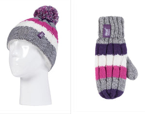 Girls Purple/Pink Cable Turn Over Hat and Mittens Age 3-6 Years