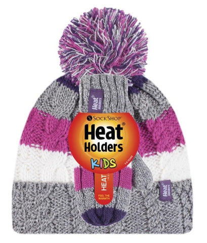 Kids HEAT HOLDERS Turn Over Pom Pom Hat & Mittens