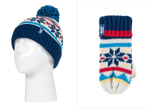 Boys Navy/Cream Jacquard Hat and Mittens Age 3-6 Years