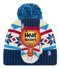 Load image into Gallery viewer, Boys Navy/Cream Jacquard Hat and Mittens Age 3-6 Years