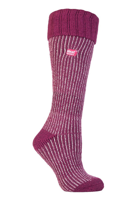 Ladies Heat Holders Boot Socks - Berry / Light Pink