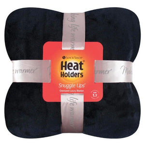 Heat Holders Snuggle Thermal Luxury Fleece Blanket / Throw 1.6 Tog ... Black