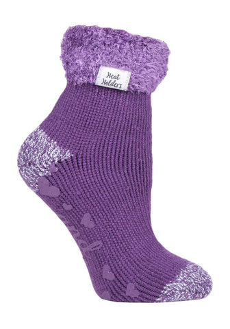 Ladies Heat Holders Lounge Socks 4-8 UK 37-42 EUR Contrast Heel & Toe Aubergine