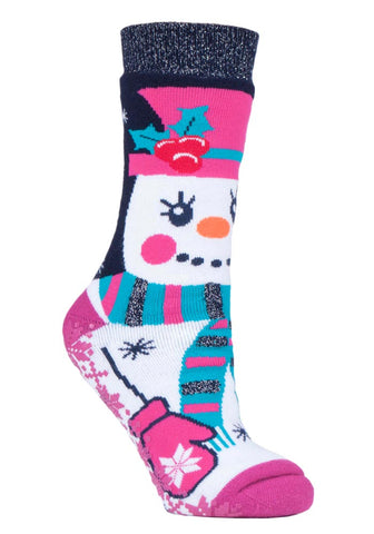 Ladies Christmas Dual Layer Heat Holders  Snowgirl Edition Gripper Socks 4-8 UK 37-42 EUR