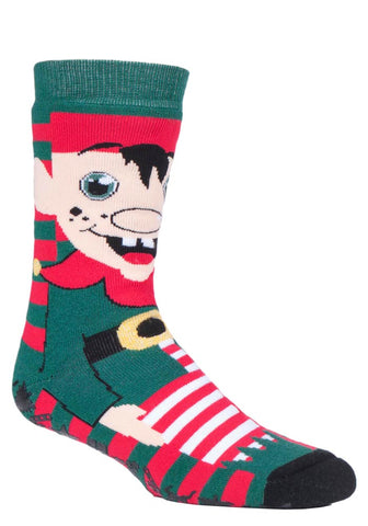 Mens Christmas Dual Layer Heat Holders Elf Edition Gripper Socks 6-11 UK 39-45 EUR