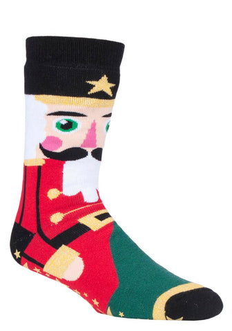 Mens Christmas Dual Layer Heat Holder Nutcracker Edition Gripper Socks 6-11 UK 39-45 EUR