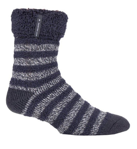 Mens Heat Holders SLEEP Socks UK 6-11, EUR 39-45 OLWEN - Charcoal Stripe