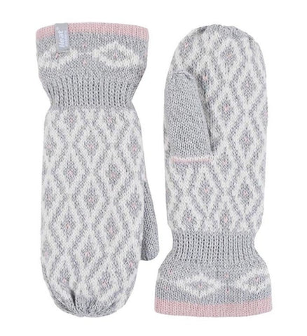 Ladies Heat Holders Heatweaver Thermal Winter Warm Copenhagen Mittens - Light Grey