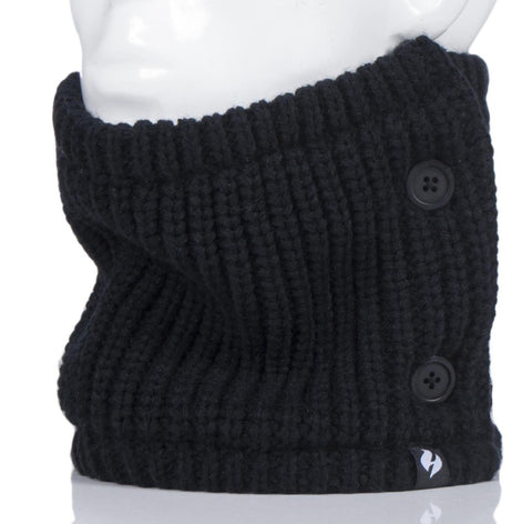 Ladies HEAT HOLDERS Button Up Neck Warmers Black