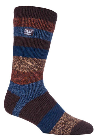 Mens Heat Holders Socks 6-11 UK 39-45 EUR Block Twisted Stripe Earth Adventurer