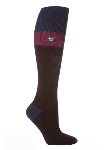 Ladies Heat Holders Ski Socks 4-8 UK 37-42 EUR - Indigo Fuchsia Black