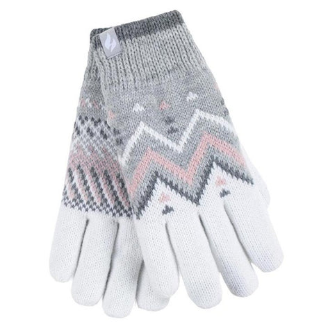 Ladies Heat Weaver Heat Holders Gloves LODORE - Grey/Cream, 2 Sizes