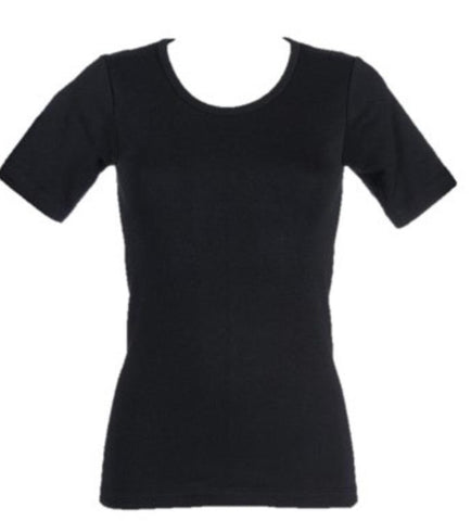 Ladies Thermal Short Sleeve Vest - Black, 4 Sizes