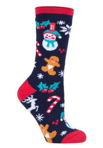 Ladies Christmas LITE Heat Holders  Festive Fun Edition  Socks 4-8 UK 37-42 EUR