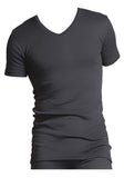Mens Thermal V Neck Short Sleeve Vest -  Charcoal, 5 Sizes