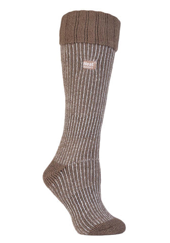 Ladies Heat Holders Boot Socks - Mid Brown / Cream