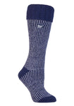 Ladies Heat Holders Boot Socks - Navy Wisteria