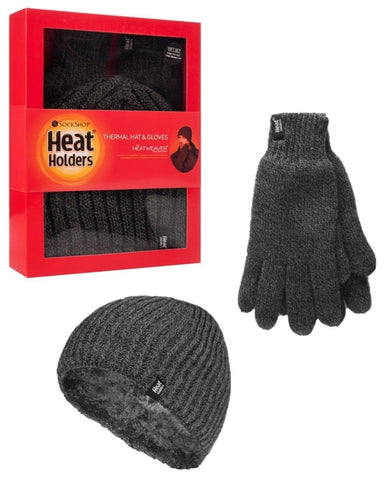Mens Heat Holders Hat And Gloves Gift Box - Charcoal - 2 Sizes
