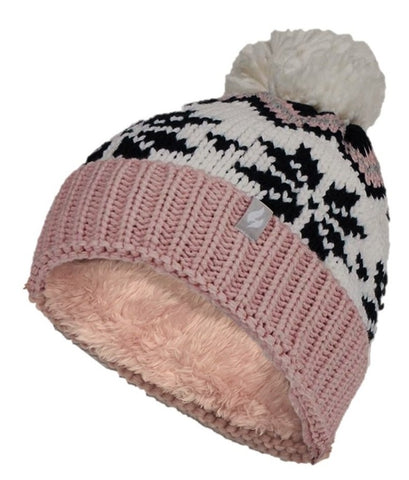 Ladies Heat Holders Heat Weaver LAGAN Pom Pom Hat - Pink