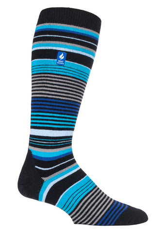 Mens Heat Holders ULTRA LITE Ski Socks 6-11 UK 39-45 EUR - Slalom Adv Black Stripe
