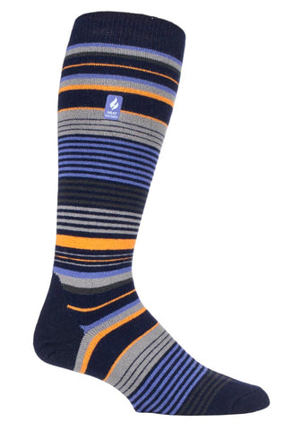 Mens Heat Holders ULTRA LITE Ski Socks 6-11 UK 39-45 EUR - Slalom Adv Navy Stripe