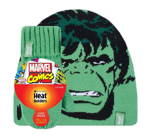 Kids HEAT HOLDERS Licensed HULK Hat & Mittens