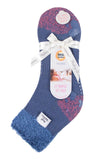 Ladies FEATHER TOP Lounge Socks 4-8 UK 37-42 EUR Contrast Heel & Toe Muted Blue