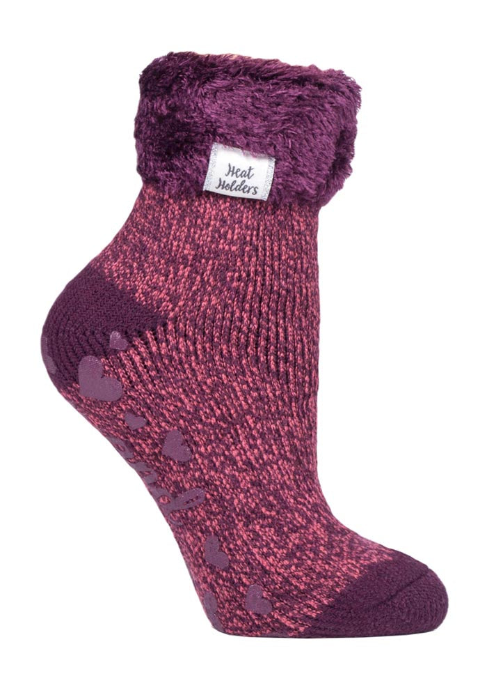 Ladies Heat Holders Lounge Socks 4-8 UK 37-42 EUR Twist Coral