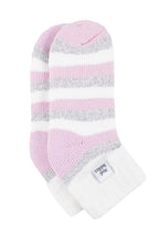 Load image into Gallery viewer, Ladies Heat Holders SLEEP Socks 4-8 UK 37-42 EUR Rib Turn Over Cuff - Stripe Cream / Light Pink
