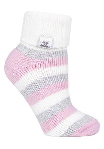 Ladies Heat Holders SLEEP Socks 4-8 UK 37-42 EUR Rib Turn Over Cuff - Stripe Cream / Light Pink