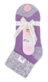 Ladies Heat Holders SLEEP Socks 4-8 UK 37-42 EUR Rib Turn Over Cuff - Contrast Heel & Toe Lilac