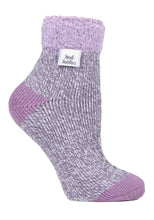 Load image into Gallery viewer, Ladies Heat Holders SLEEP Socks 4-8 UK 37-42 EUR Rib Feather Top - Twist Grey