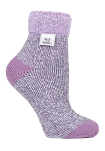 Ladies Heat Holders SLEEP Socks 4-8 UK 37-42 EUR Rib Feather Top - Twist Grey