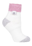 Ladies Heat Holders SLEEP Socks 4-8 UK 37-42 EUR Rib Feather Top - Contrast Heek & Toe Cream