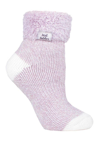 Ladies Heat Holders SLEEP Socks 4-8 UK 37-42 EUR Feather Turn Over Cuff - Twist Mauve