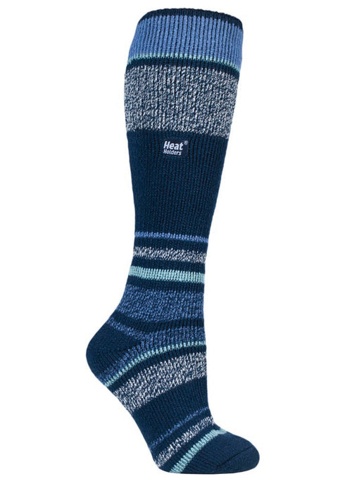 Ladies  Heat Holders Ski Socks 4-8 UK 37-42 EUR Indigo Stripe