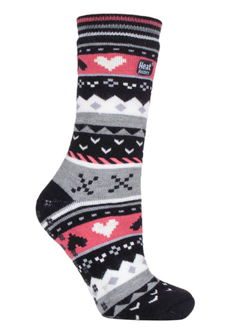 Ladies SOUL WARMING Dual Layer Heat Holders Slipper Socks 4-8 UK 37-42 EUR Black / Coral