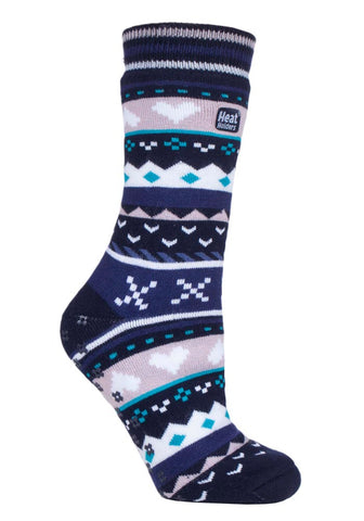 Ladies SOUL WARMING Dual Layer Heat Holders Slipper Socks 4-8 UK 37-42 EUR Navy / Purple