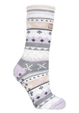Ladies SOUL WARMING Dual Layer Heat Holders Slipper Socks 4-8 UK 37-42 EUR Lilac / Grey