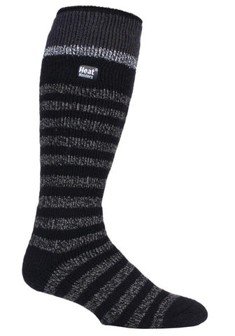 Mens Heat Holders Ski Socks 6-11 UK 39-45 EUR  - Black Stripe