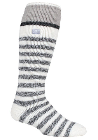 Mens Heat Holders Ski Socks 6-11 UK 39-45 EUR - Cream Stripe