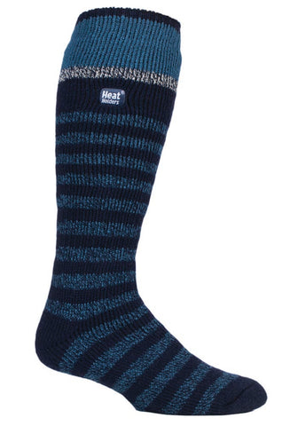 Mens Heat Holders Ski Socks 6-11 UK 39-45 EUR - Navy Stripe