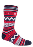 Mens SOUL WARMING Dual Layer Heat Holders Slipper Socks 6-11 UK 39-45 EUR Navy / Red