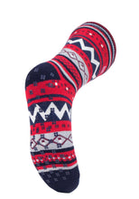 Load image into Gallery viewer, Mens SOUL WARMING Dual Layer Heat Holders Slipper Socks 6-11 UK 39-45 EUR Navy / Red